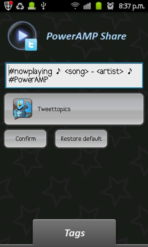 PowerAMP Share Widget - screenshot