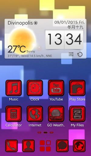 Red Pixel GO Launcher EX Theme