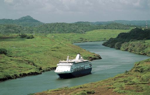 Holland America's Statendam traverses the Panama Canal.