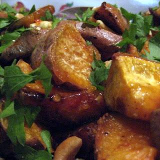 Roasted Sweet Potato Salad w/ Chili sauce, parsley and cashew nuts.