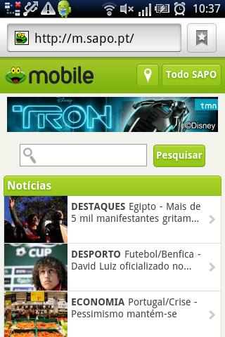 SAPO Mobile - screenshot