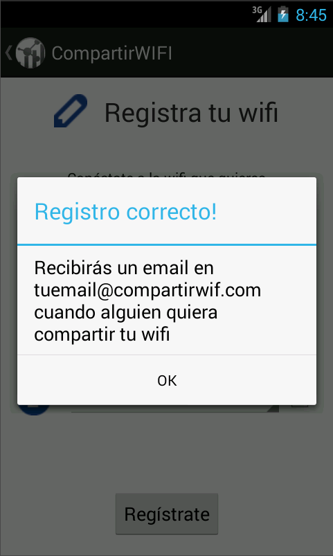 Compartir wifi: conocer gente: captura de pantalla