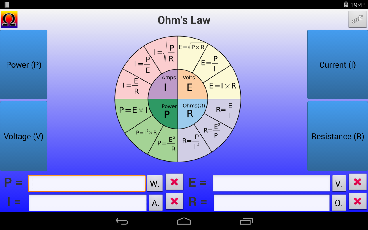 Ohm's Law Calculator- screenshot