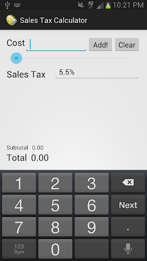 Mobile Sales Tax Calculator