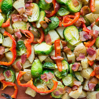 Roasted Potatoes with Brussels Sprouts, Red Pepper and Bacon