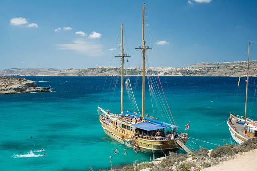 Blue Lagoon on the island of Comino, Malta.
