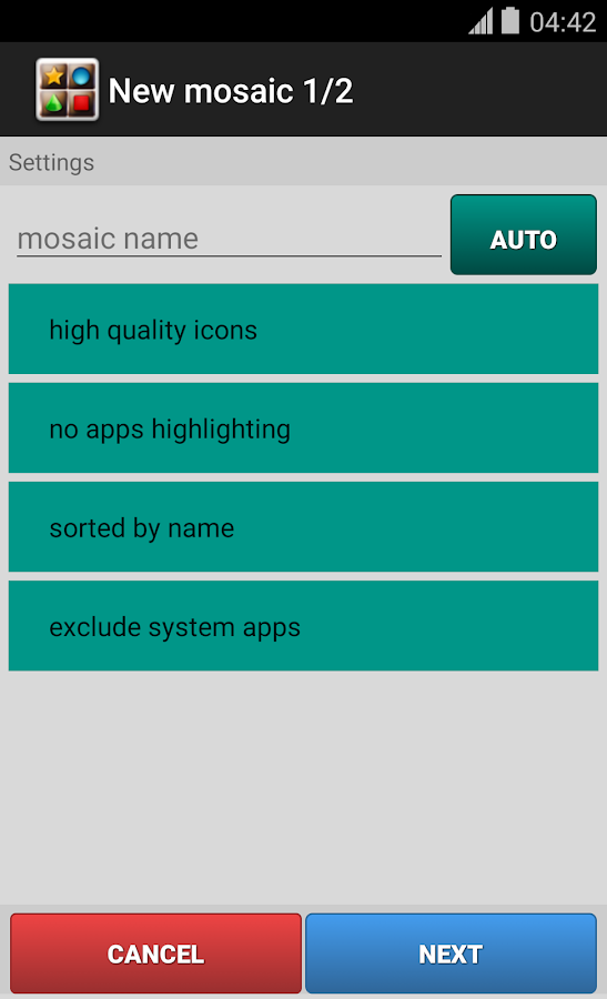 AppsToMosaic- screenshot