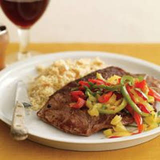 Lamb Steaks with Four Peppers and Nutty Couscous.