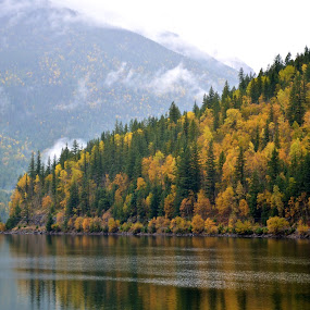 Fall Point by  J B  - Landscapes Mountains & Hills ( colour, canada, fall, three valley gap, british columbia )
