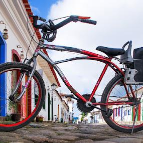 Paraty by Brianna Oliva - City,  Street & Park  Street Scenes ( brazil, paraty, bike, street, rua, bicicleta, city )