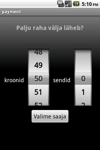 Mobiilimakse abivahend - screenshot