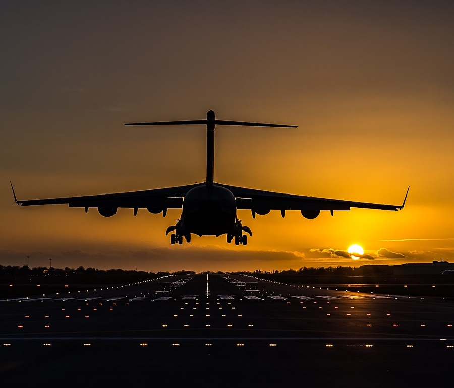 by Ollie Kearsey - Transportation Airplanes ( c-17, transport, sunset, aircraft, brize norton, raf )