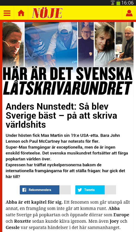Expressen- screenshot