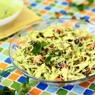 Southwestern Cole Slaw with Avocado Dressing and Pepitas.