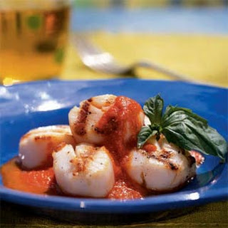 Scallops with Roasted Pepper Butter Sauce.