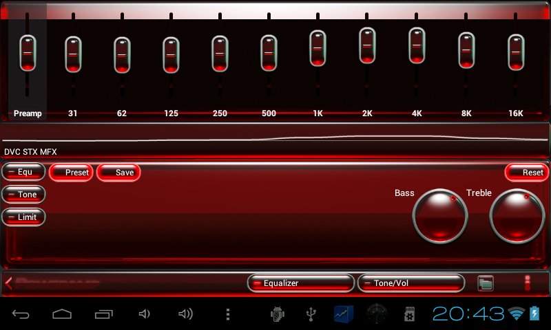 Poweramp skin red glass - screenshot