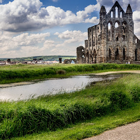 Former Glory by Donna Brittain - Buildings & Architecture Decaying & Abandoned ( clouds, archaeology, church, archetecture, yorkshire, whitby uk, whitby abbey, cathedral, ruins, landscape )