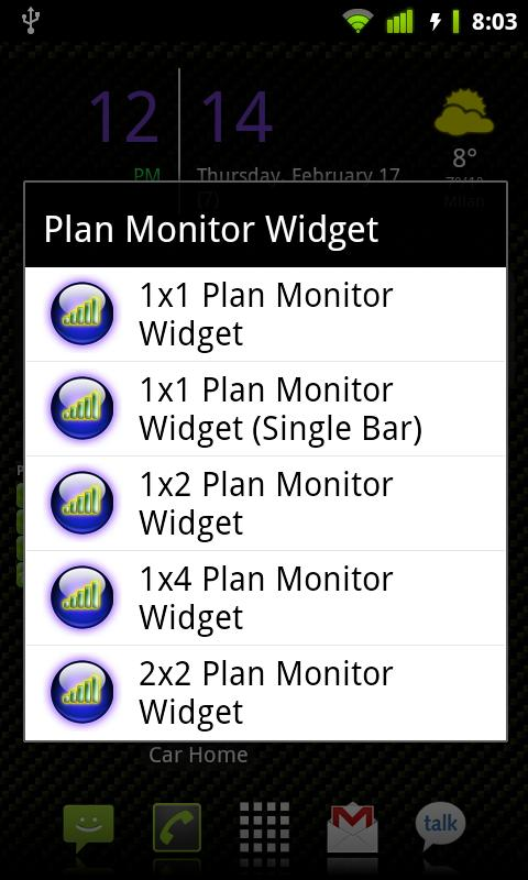 Plan Monitor Widget - screenshot