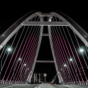 The city sleeps by Star Image - City,  Street & Park  Street Scenes ( minnesota, breast cancer awareness, night photography, star image, minneapolis, lowry bridge, kris turner, the mood factory, mood, lighting, sassy, pink, colored, colorful, scenic, artificial, lights, scents, senses, hot pink, confident, fun, mood factory ,  )