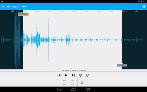 Audio Recorder and Editor: miniatura de captura de pantalla