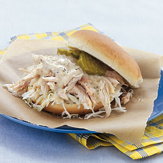 Pulled Chicken Sandwiches with White Barbecue Sauce.