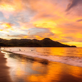 Golden Time of Night by Jack Brittain - Landscapes Sunsets & Sunrises ( sunset, pacific ocean, costa rica, ocean, beach, landscape,  )