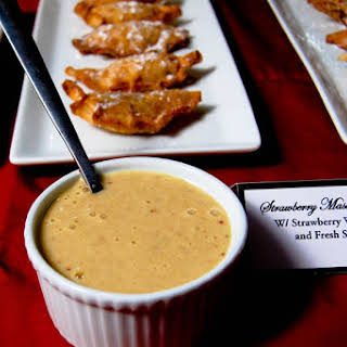 Strawberry Mascarpone Dumplings with Strawberry Whiskey Sabayon.