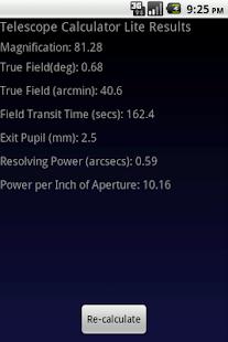 Telescope Calculator Lite- screenshot thumbnail