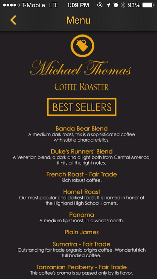 Michael Thomas Coffee Roasters- screenshot