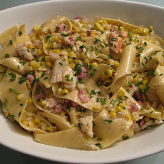Pappardelle with Corn, Lobster, Pancetta and Crème Fraiche.