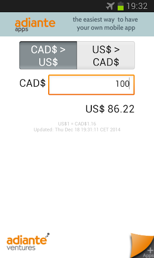 US Dollar to Canadian Dollar