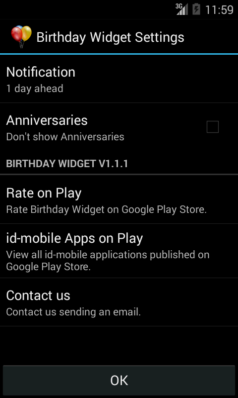 Birthday Widget- screenshot