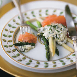 Asparagus with Smoked Salmon and Gribiche Sauce.