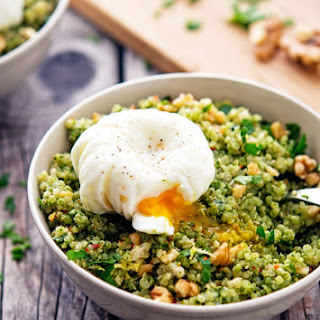 Quinoa Kale Pesto Bowls with Poached Eggs.