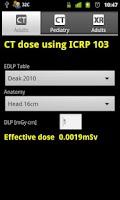 Screenshot of CT and XR Dose Calculator
