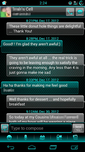 GO SMS Cyan Glass Theme
