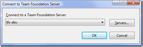 Connect to Team Foundation Server Dialog - Server Only Select - Initialized