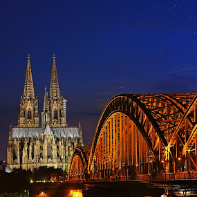 Cologne... revisited! by Avishek Patra - Buildings & Architecture Places of Worship ( cologne, rhein, twilight, cathedral, germany, bridge, evening, river, , colorful, mood factory, vibrant, happiness, January, moods, emotions, inspiration )