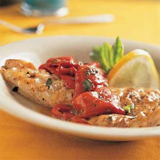 Grilled Lemon-Basil Snapper with Roasted Peppers