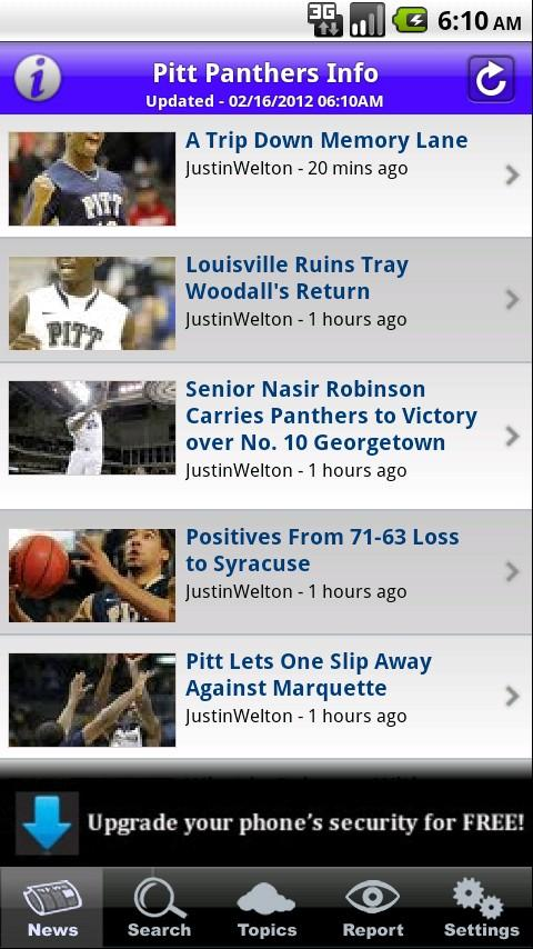 Pitt Panthers Info - screenshot