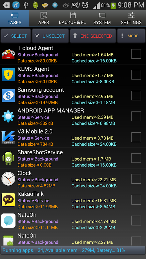 Android Task Manager Pro - screenshot