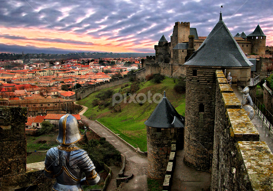 Carcassonne defenders by Anton Donev - Buildings & Architecture Places of Worship ( carcassonne, old, roussillon, famous place, europe, stone, architecture, travel, dramatic sky, languedoc-rousillon, french riviera, king, aude, knight, city, traditional culture, sky, gothic style, ancient, guards, after rain, france, travel destinations, protection, hdr, art, offence, tourism, scenic, fort, landscaped, dusk, history, mediterranean countries, tower, indigenous culture, sunset, south, cloud, defender, castle, town, built structure, palace, medieval, antique, wall,  )