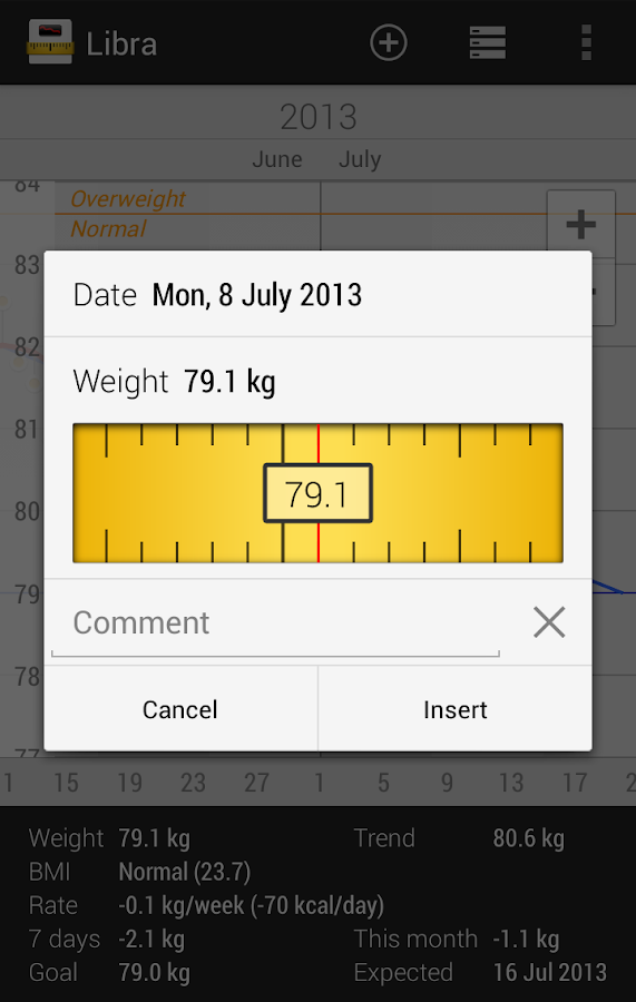 Libra - Weight Manager - screenshot