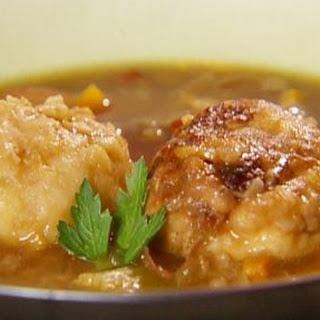Three-bean soup with turkey meatballs and Dijon mustard dumplings