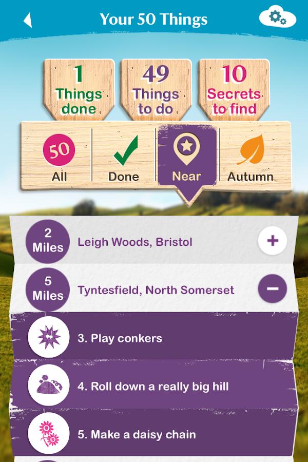 National Trust 50 things- screenshot