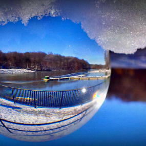 The Frozen Lake Orb by Cecilia Sterling - Artistic Objects Glass ( reflection, marina in winter, crystal ball, week top 10%, challenge top 20%, cecilia sterling, frozen, sun, dock, distortion, natural distortion, cecilia schmitt, natural photograph, sunny, ice, meditation ball, snow, glass, lake accotink, month 10%, artistic object, marina, lake accotink park, top 10%, winter lake, glass ball, day #5, glass object, frozen lake, lake, month top 10%, clear orb, magic, winter, blue lake, pwc, blue, challenge top 10%, week 10%, mood factory,  )
