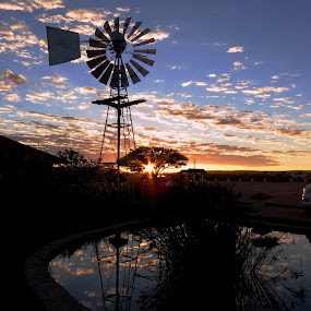 Canon Roadhouse sunrise by Kleintjie Loots - Novices Only Landscapes ( water, clouds, trees, reflection windmill,  )