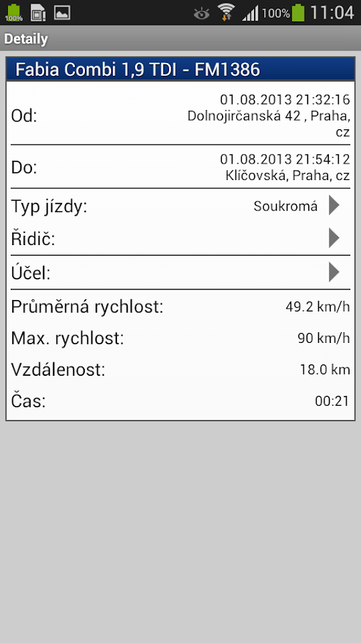 Lokatory.cz logbook- screenshot