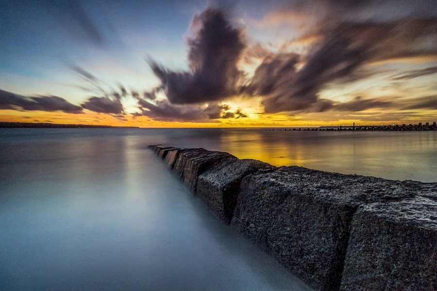 Kelan Beach - Airport View, Badung - Bali by Adi Nugraha - Landscapes Sunsets & Sunrises ( #bali #beach #sunset #clouds )