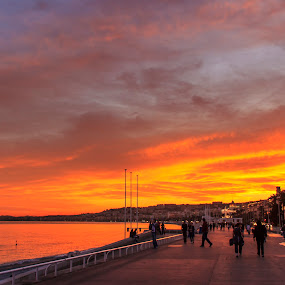 Seaside sunset by Carol Henson - People Street & Candids ( promenade des anglais, waterscape, sunset, 2011, nice, france,  )